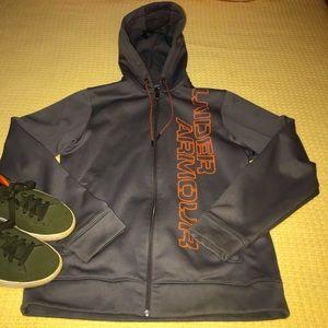 Under Armour Grey/Orange Zipper Front Hoodie Sz S